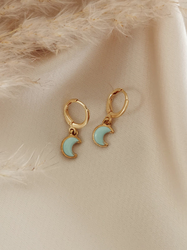 Blue Moon - 14k Gold Plated Huggie earrings
