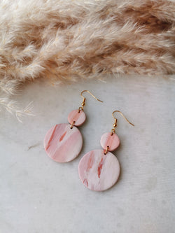 Peach/Pink Marble - Polymer Clay Earrings