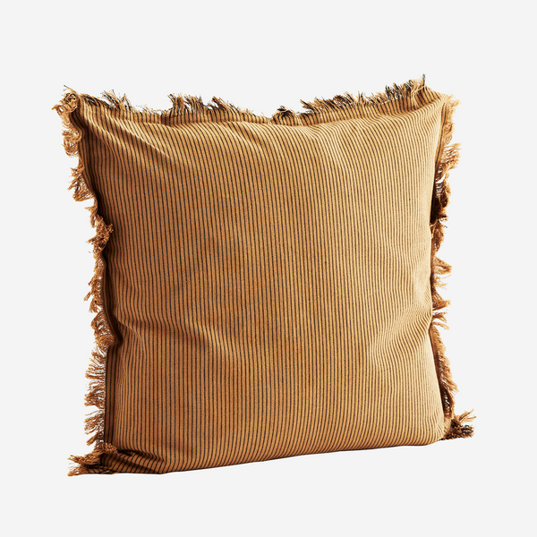 Sugar Almond Stripe Fringe Cushion - COVER ONLY