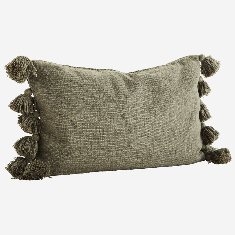 Olive Tassel Cushion  - COVER ONLY