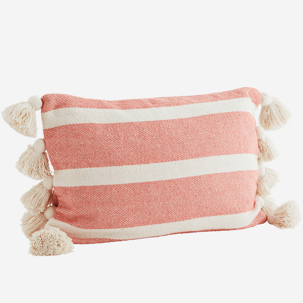 Coral Candy Stripe Tassel Cushion  - COVER ONLY