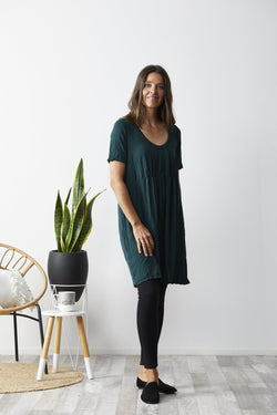 Vigorella Short Sleeve Dress With Front Gather - Emerald