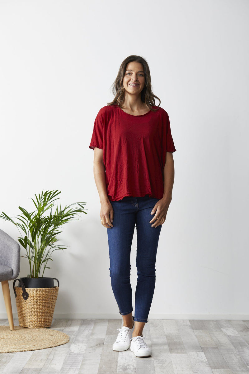 Vigorella Mesh Oversized Stepped Hem Tee - Rich Red