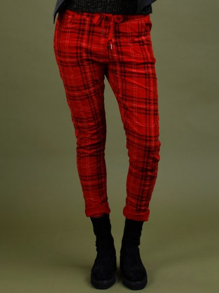 Italian Star Derby Check Pant - Rosso