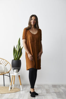 Vigorella Short Sleeve Dress With Front Gather - Rust