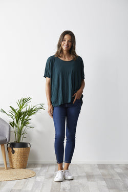 Vigorella Mesh Oversized Stepped Hem Tee - Emerald