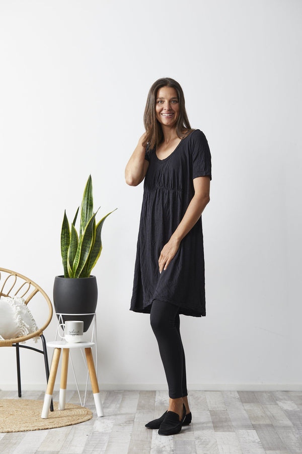 Vigorella Short Sleeve Dress With Front Gather - Black