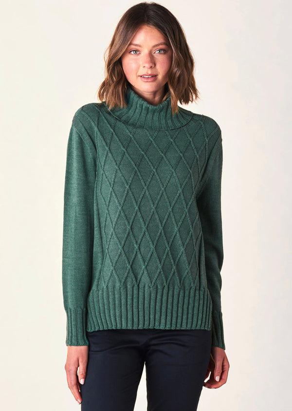Uimi Dylan Diamond Stitch Jumper in Merino Wool - Emerald