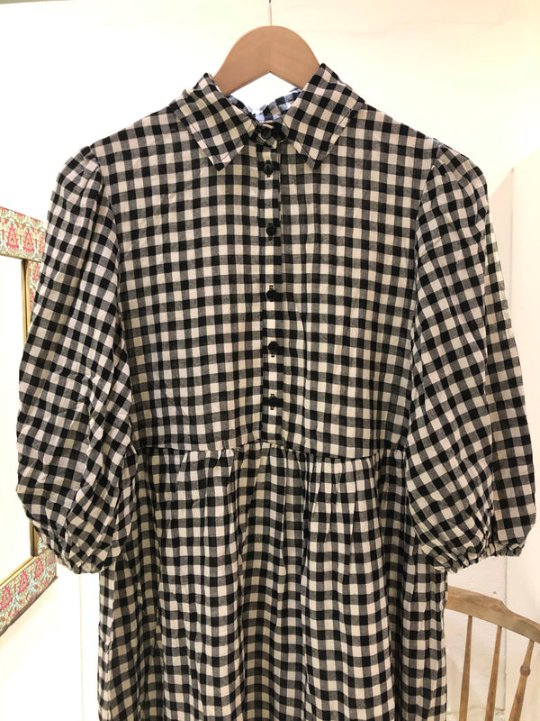 Fujinella Go To Frock Gingham - Black and White