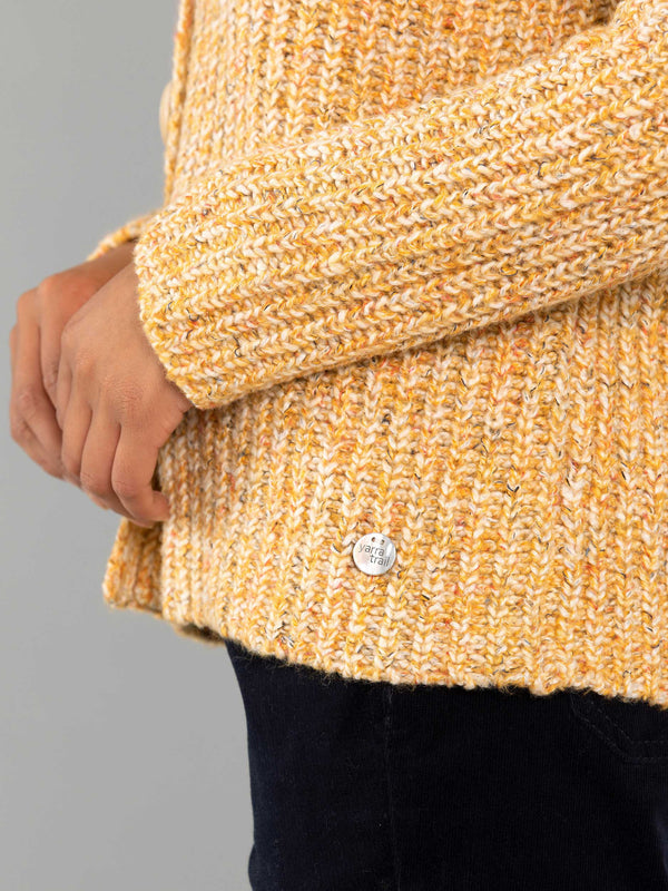Yarra Trail Chunky Rib Cardi - Gold Mix