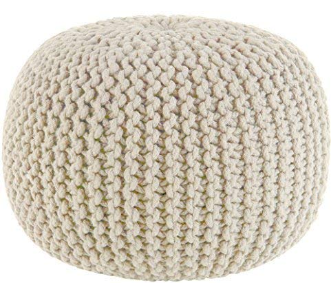 Hand Knitted Cable Style Dori Pouf - Three Wolves Provisions