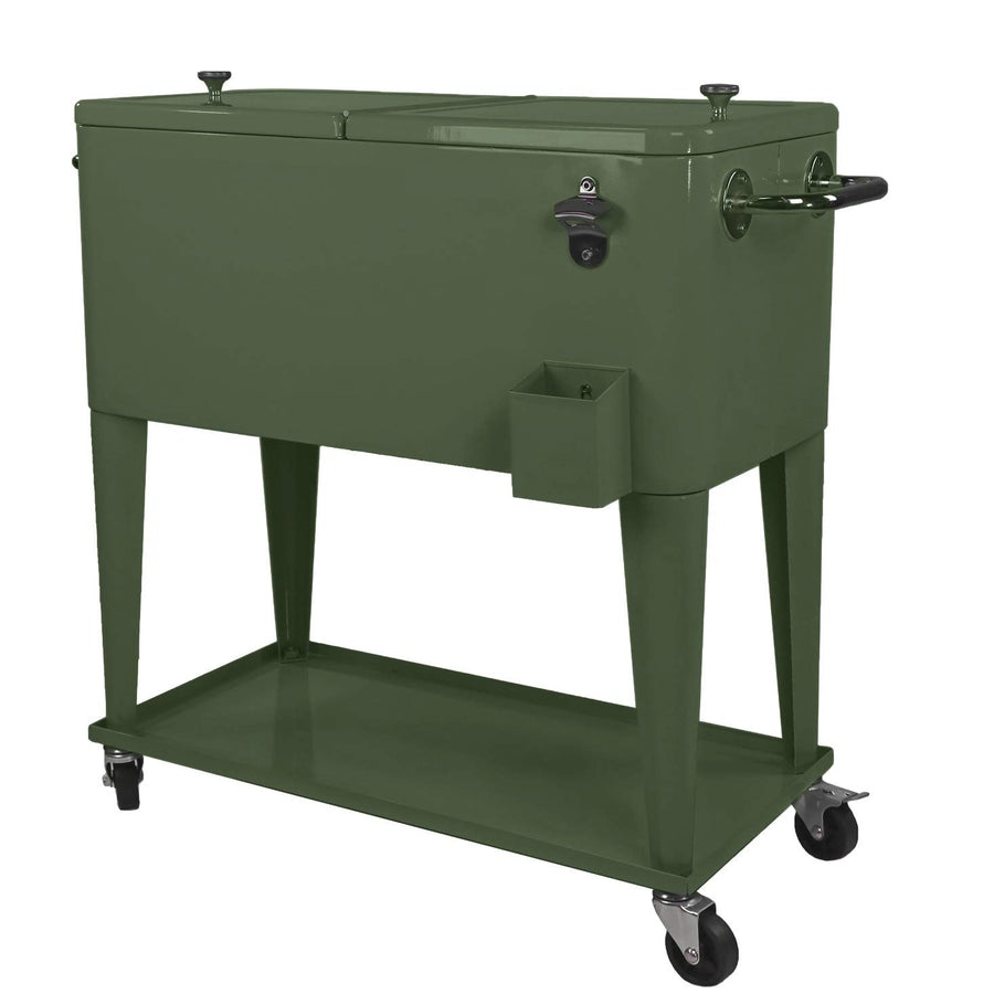80 Quart Qt Rolling Cooler Ice Chest Cart - Three Wolves Provisions