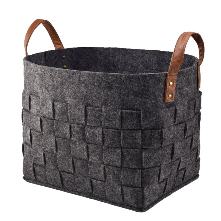 Felt Storage Basket With Handles - Three Wolves Provisions