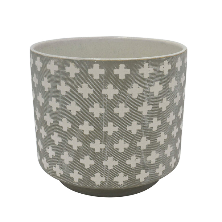 Cross-Patterned Stoneware Planter - Three Wolves Provisions