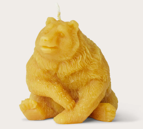SITTING BEAR BEESWAX CANDLE - Three Wolves Provisions