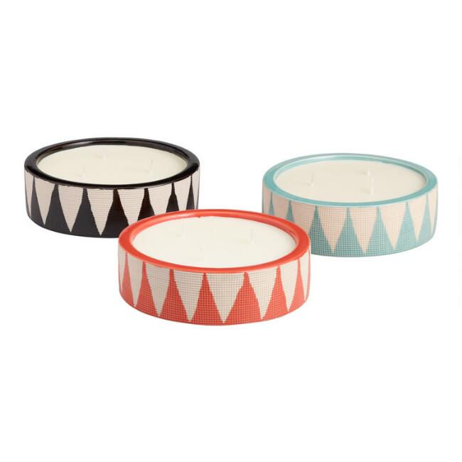 Large Geometric Citronella Candles-Set Of 3 - Three Wolves Provisions