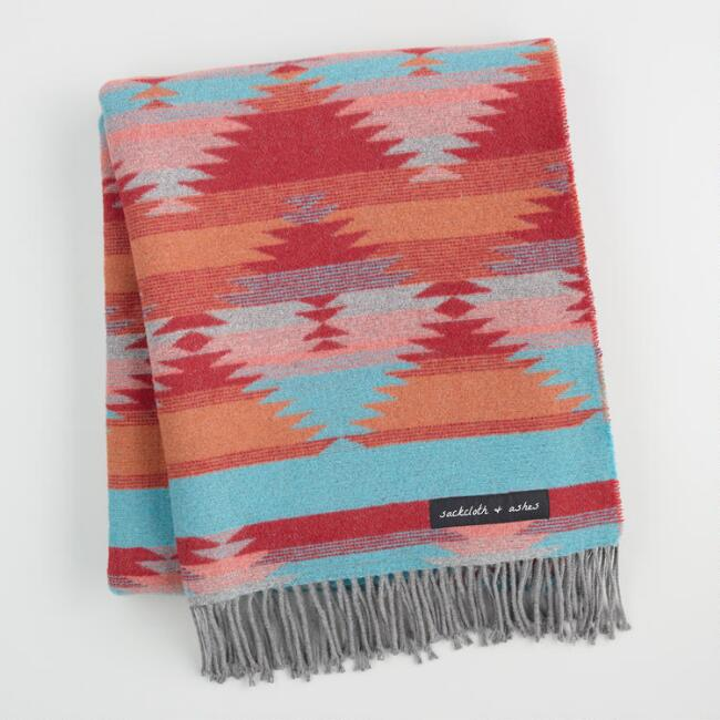 Red And Turquoise Diamond Throw Blanket