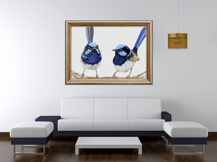 Large Blue Bird Over the Couch Art Print