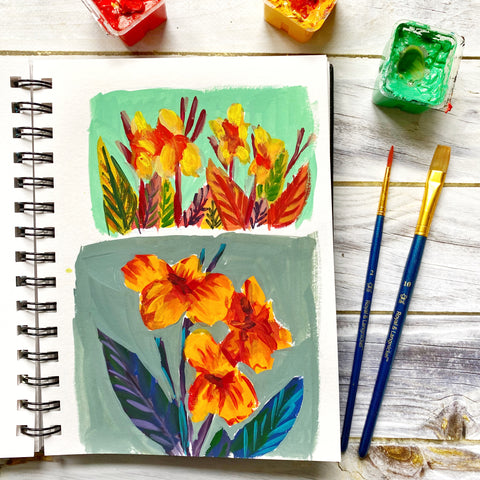 what to do when you are feeling stuck with your art , artist block creative block sketchbook painting flowers uninspired bad art plateau