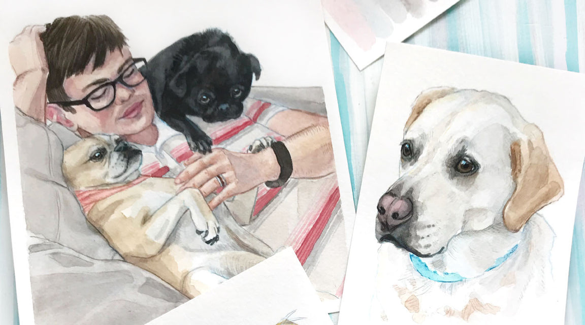 Family and Pet Watercolor Portraits