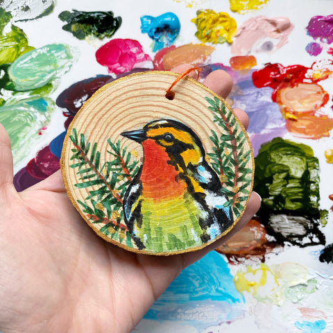 Blackburnian Warbler Wood Slice Ornament - Priscilla George Fine Art