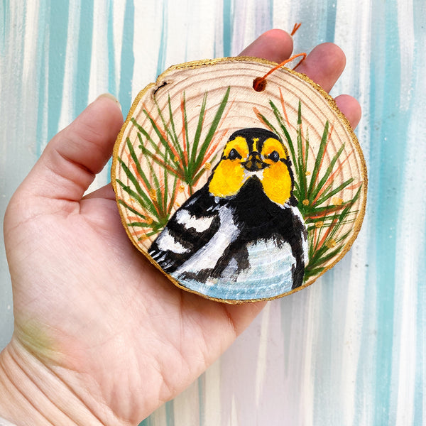 Golden Checked Warbler Wood Slice Ornament - Priscilla George Fine Art