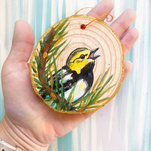 Black Throated Green Warbler Wood Slice Ornament - Priscilla George Fine Art