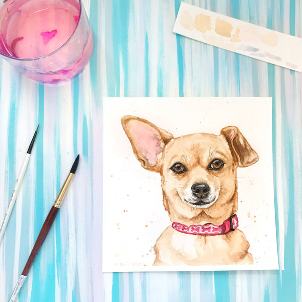 Pet Portrait Square Sizes - splatter - - Priscilla George Fine Art