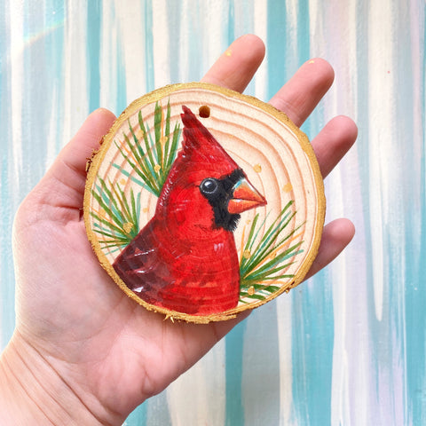 Cardinal 3 Wood Slice Ornament - Priscilla George Fine Art