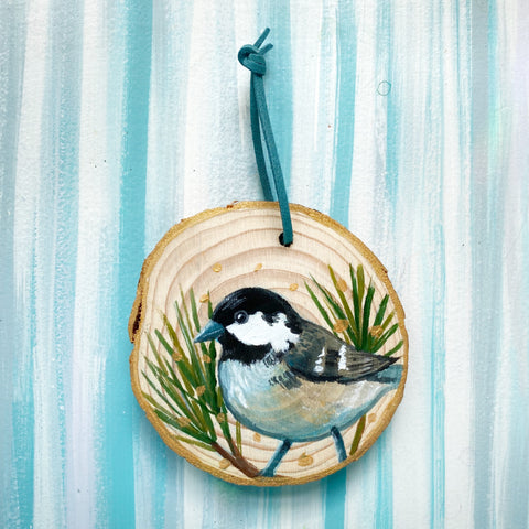 Chickadee 1 Wood Slice Ornament - Priscilla George Fine Art