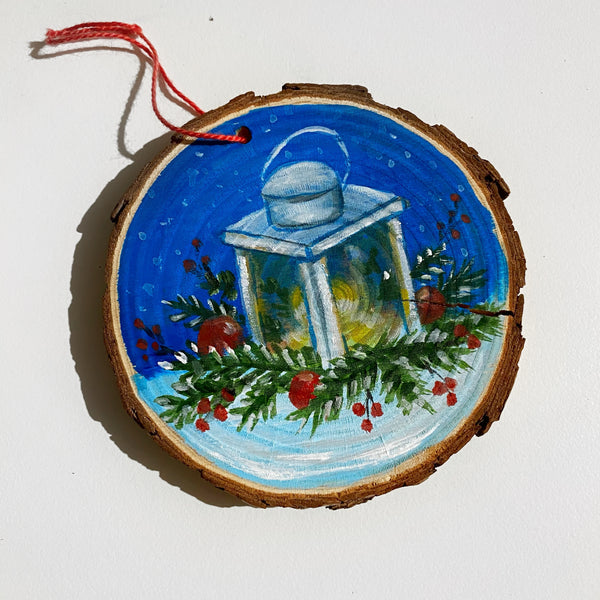 Lantern Wood Slice Ornament