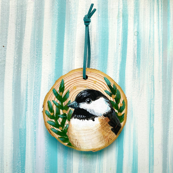 Chickadee 2 Wood Slice Ornament - Priscilla George Fine Art