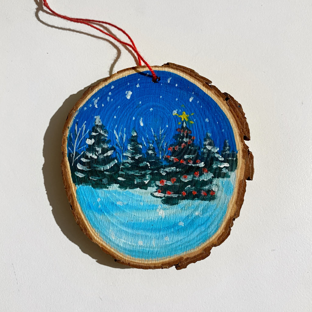 Christmas tree in the forest Wood Slice Ornament