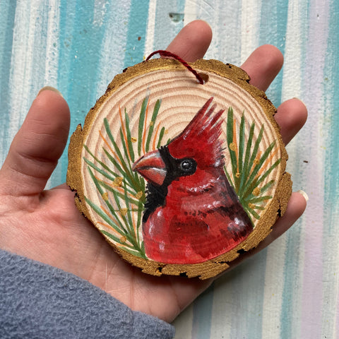 Reserved Cardinal Wood Slice Ornament - Priscilla George Fine Art
