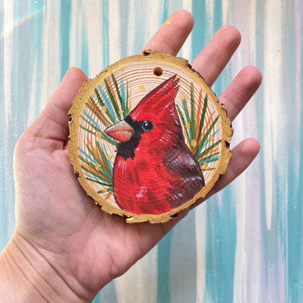 Cardinal 4 Wood Slice Ornament - Priscilla George Fine Art