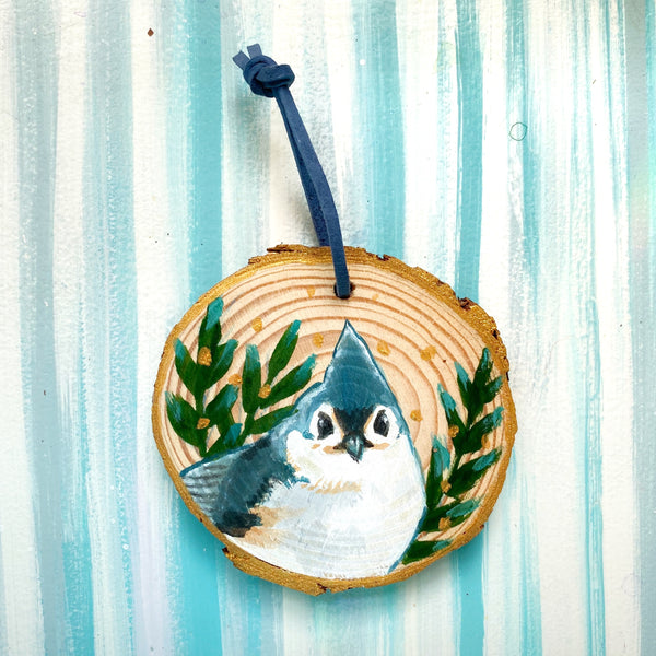 Titmouse 2 Wood Slice Ornament - Priscilla George Fine Art