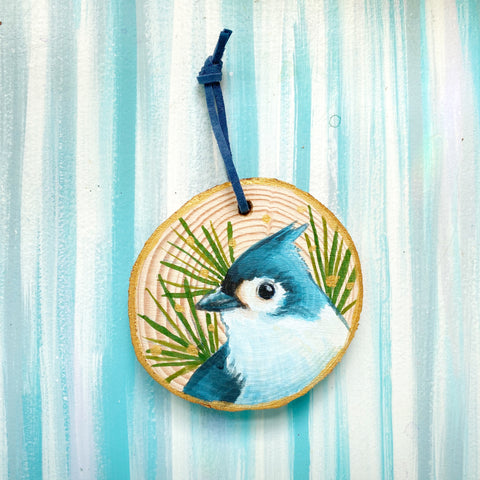 Titmouse 1 Wood Slice Ornament - Priscilla George Fine Art