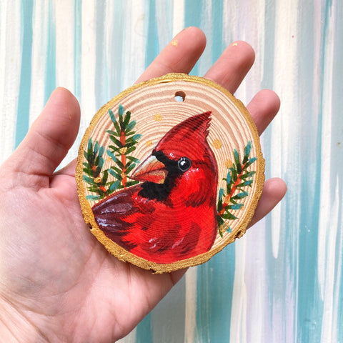 Cardinal 2 Wood Slice Ornament - Priscilla George Fine Art