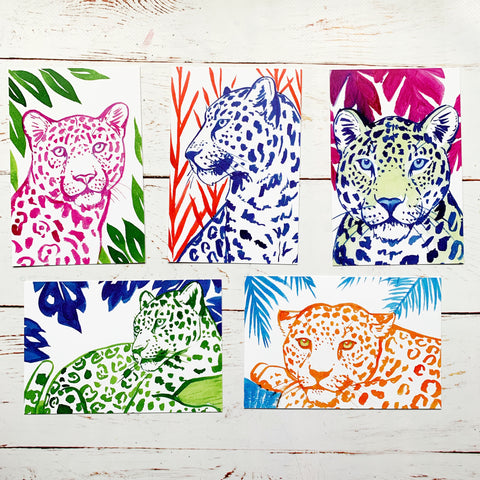 Leopard Postcard Pack of 5 - Priscilla George Fine Art