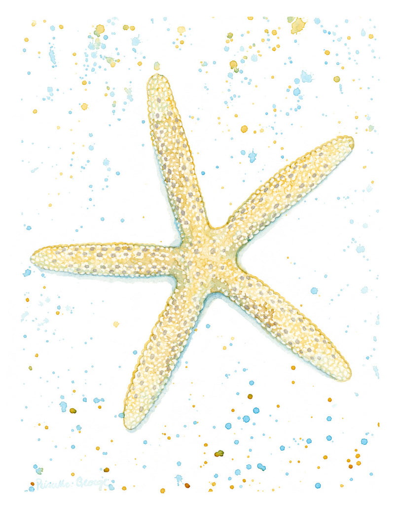 Yellow Starfish - Iridescent - Priscilla George Fine Art