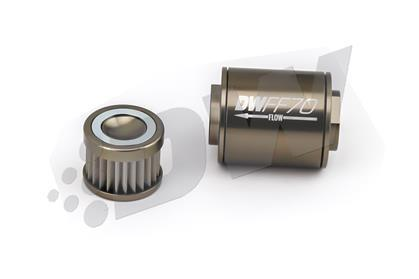 DeatschWerks Stainless Steel 8AN 10 Micron Universal Inline Fuel Filter Housing Kit (70mm)
