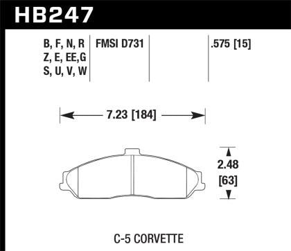 Hawk 97-12 Corvette/01-04 Z06/05-09 Z51 Blue 9012 Race Front Brake Pads HB247E.575