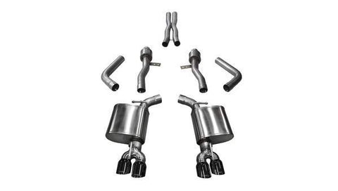 Corsa 15-17 Dodge Challenger Hellcat Dual Rear Exit Sport Exhaust w/ 3.5in Black Tips