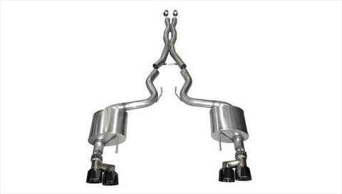 Corsa 15-16 Ford Mustang GT 5.0 3in Cat Back Exhaust Black Quad Tips (Xtreme)