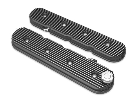 Holley Vintage Series Finned LS Valve Covers, Standard Height - Satin Black Machined Finish 241-132