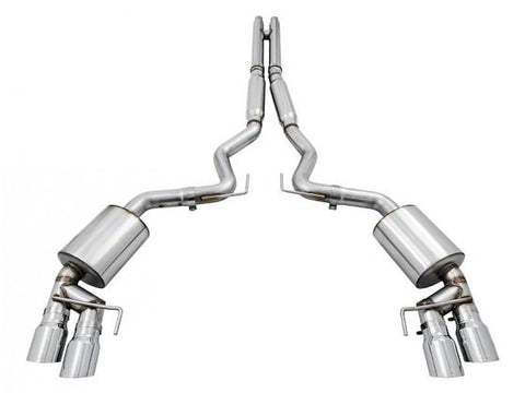 AWE Tuning S550 Mustang GT Cat-Back Exhaust - Touring Edition - GT350 Valance (Chrome Silver Tips) 3015-42096