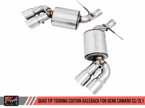 AWE Tuning 16-19 Chevrolet Camaro SS Axle-back Exhaust - Touring Edition (Quad Chrome Silver Tips) 3015-42093
