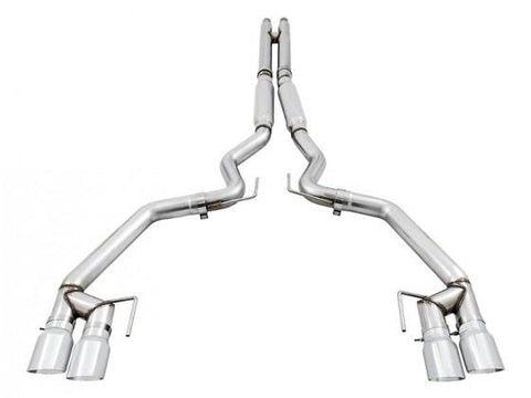 AWE Tuning S550 Mustang GT Cat-Back Exhaust - Track Edition - GT350 Valance (Quad Chrome Silver Tip) 3020-42060