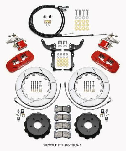 Wilwood AERO4 / MC4 Rear Kit 14.00 Red 2015-Up Mustang w/Lines & Cables 140-13888-R