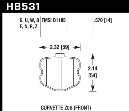 Hawk 06-10 Chevy Corvette (OEM Pad Design) Front Ceramic Sreet Brake Pads HB531Z.570